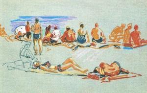 Гурзуф. Пляж, 1975, 32х42