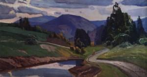 Пейзаж з дорогою, сер. 1960-х, п.о. 80х150