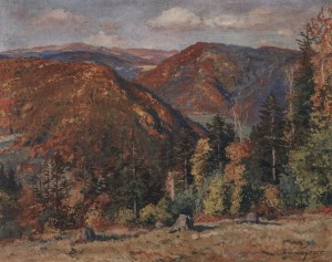 Autumn In The Mountains. Stavne Village, 1955, oil on canvas, 79.5x98