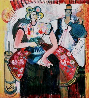 Hungarian Couple, from the photo archive of Y. Nebesnyk, 1992, oil on canvas, 100x91