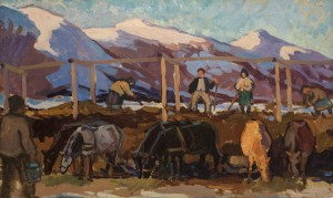 Dumping Of Manure, 1958, oil on cardboard, 48х79