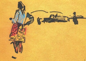 A Woman Near The Car, 1971, pastel on paper, 17,2х23,8