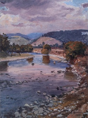 Autumn. Mountain Scenery With The River, 1946, oil on cardboard, 65,7х49
