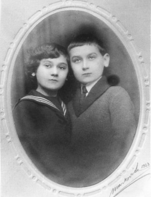 F. Manailo with his sister, 1923