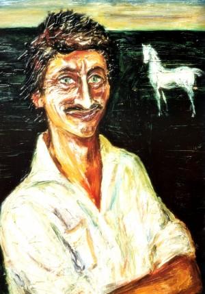Автопортрет з білим конем,1981, кар.о.тем., 85х68