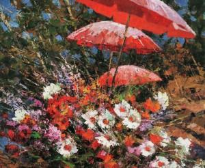 Квіти і парасольки, 2007, 80х100