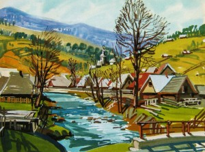 Scenery of Synevyr Village, 2014, gouache, tempera, acrylic on cardboard, 50х60