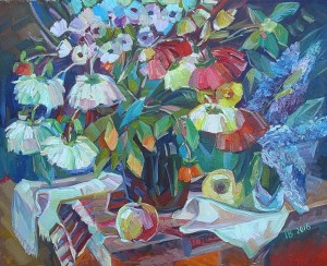 Still Life With Flowers, 2016, oil on canvas, 82x79