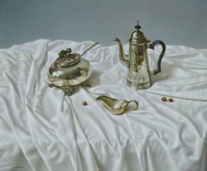 Срібло на білому, орг.о.левкас, 60х73