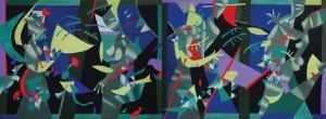 Диптих «Червона рибка в лісі надій», 110х300