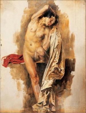 Еротична сцена, дошка.о., 17,5х13,5