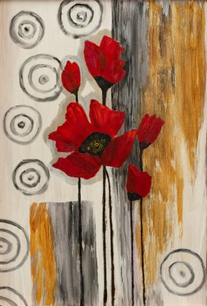 'Poppies', 2017, acrylic on fibreboard, oil, 63x43