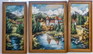 S. Nistor Triptych 'Mysterious Castle', oil on canvas