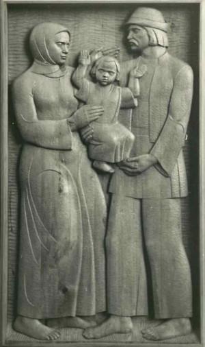 Із серії  Життя і побут закарпатців, 1981, дерево, 60х110