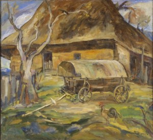 A Hutsul Yard, 1990, oil on canvas, 69х75
