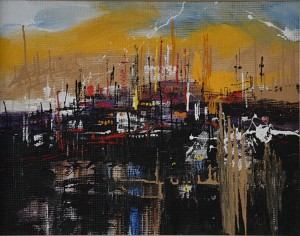 New City, 2013, mixed technique on masonite, 70x90