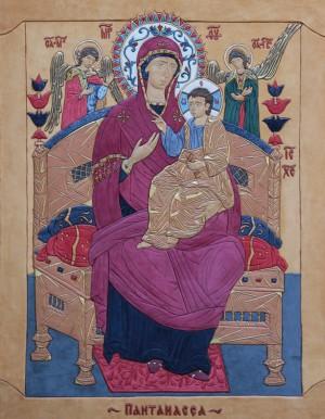 Ікона Божої Матері Пантанасс, кіра, сусальн золото, 69x54