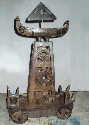 Підсвічник Тотем, 2013, шамот, поливи, солі, відновлення, 30х17х43