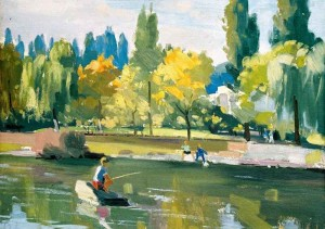 Fishing On The River Uzh, the end of the 1950s, oil on cardboard, 50,5x70