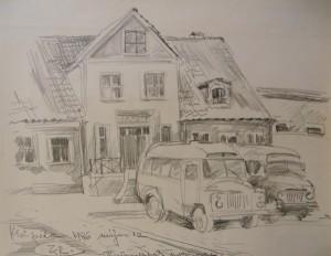 'Teatralna Square', 1986, pencil on paper, 49x63