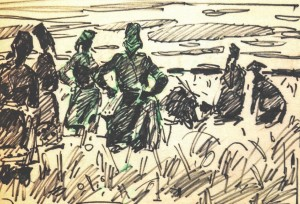 Women In The Field, 1971, marker on paper, 21х32