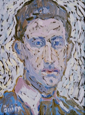 Mans Portrait, from the photo archive of Y. Nebesnyk, 1960, oil on cardboard, 40x30