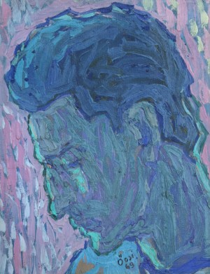 Mans Portrait, from the photo archive of Y. Nebesnyk, 1969, oil on cardboard, 40x30