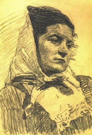 Portrait of A Woman, 1954, oil on paper, 28,5х20,5