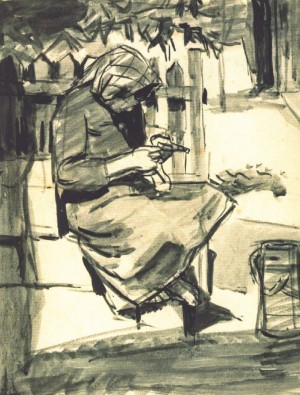 Sewing, 1945, watercolour on paper, 27х23