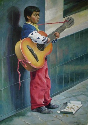 A Gypsy With A Guitar, 2010, oil on canvas, 70x50