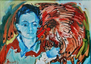Yurchyk With The Cock, from the photo archive of Y. Nebesnyk, 1993, oil on canvas, 51x71