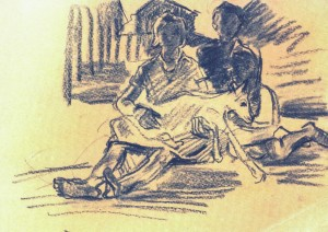 Козеня, 1950, пап.вуг., 21х29,5