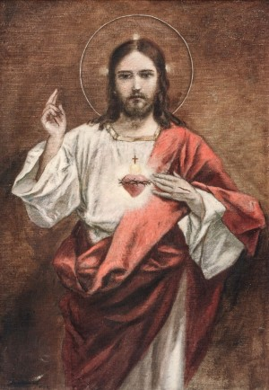 The Burning Heart Of Jesus, 1944, wood, tempera on canvas, 99,5х69
