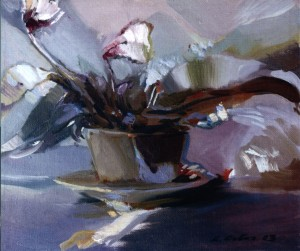 Still life With Cyclamen, 2003, oil on canvas, 40x50