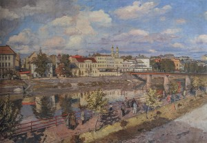 Panorama Of Uzhhorod, 1948, oil on canvas, 120x117