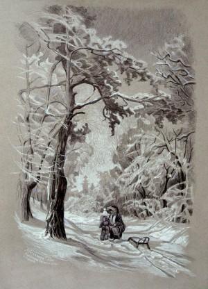 Зимова прогулянка, 2014, пап. ручка, 70х50