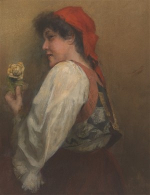 Portrait Of Woman With Rose, oil on board.Jpeg