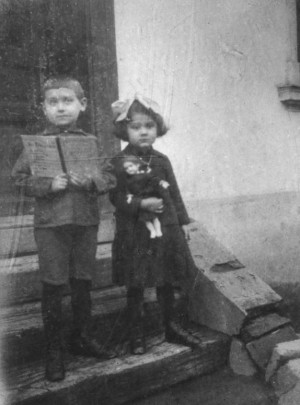With his sister Olena, 1916