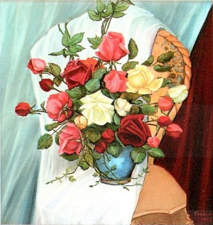 'Roses On The Chair', 1998, oil on canvas, 57x60