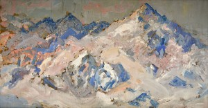 'Snowy Peaks', the 1940s, oil on cardboard, 19x38.jpg