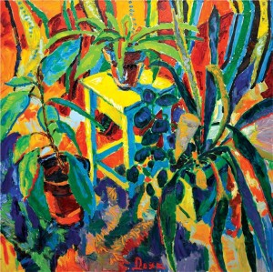 'House Flowers On A Stool', 2006, oil on canvas, 115x115