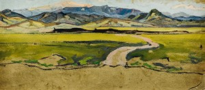 View on the Menchul, Dulovo village,1959, cardboard, oil, 42х88