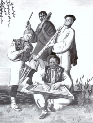 Музики, 1948, кольор.літографія, 27,4х20,5