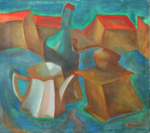 Still Life With Cityscape, 2003, oil on canvas, 45x50