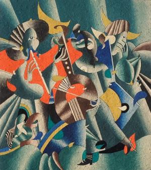 Із триптиху «Троїсті музики», 2001, пап.гуаш, 33,5х39,5