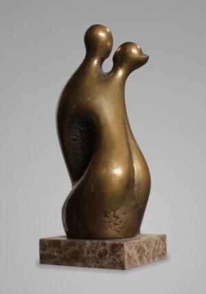 Поцілунок, 2014, бронза, мармур, 30х12х11