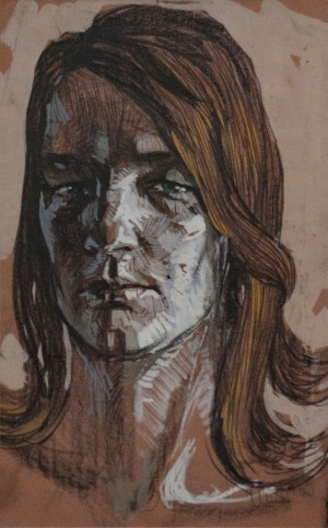 'Wife's Portrait', 1963, pensil on paper, tempera