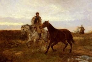 Повернення коней в стайню, на заході сонця