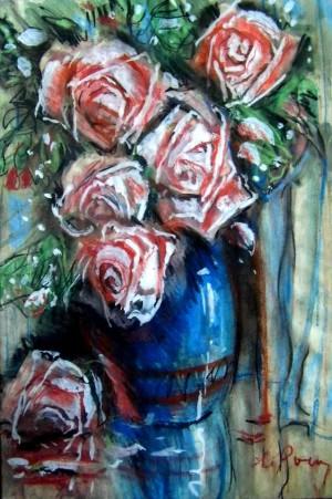 Троянди, 1996, пап.паст., крейда, 36х51