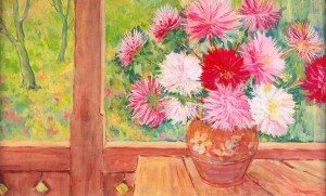 Asters On The Porch, 1979, tempera on cardboard, 50x80